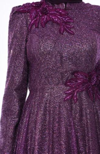 فستان سهر بتفاصيل لامعة 5105-03لون بنفسجي 5105-03