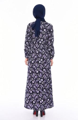 Desenli Elbise 2560N-01 Lacivert-Lila 2560N-01