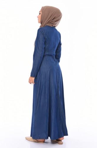 Besticktes Jeans Kleid 4037-01 Dunkelblau 4037-01