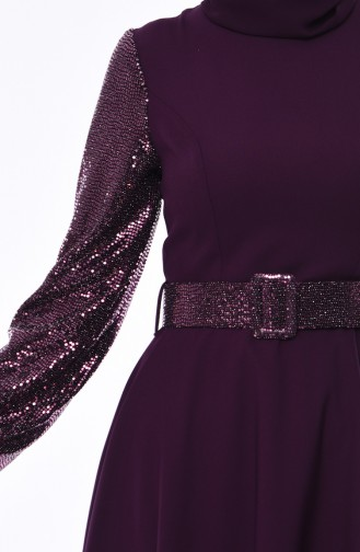 Sequined Belted Dress 8002-03 Purple 8002-03
