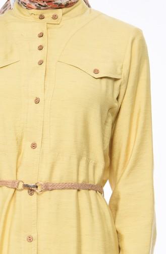 تونيك بتصميم حزام للخصر 2376-04 لون اصفر 2376-04