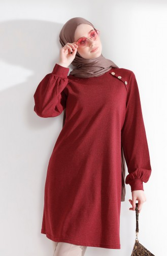 TUBANUR Button Detailed Tunic 3066-05 Claret Red 3066-05