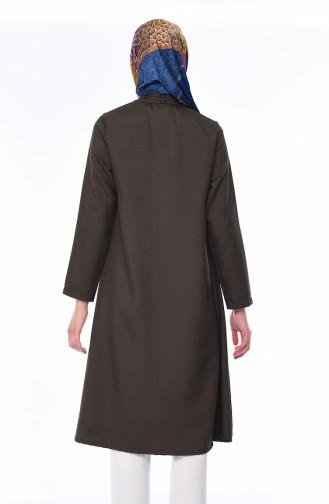 Kravat Yaka Uzun Tunik 2374-05 Haki Yeşil