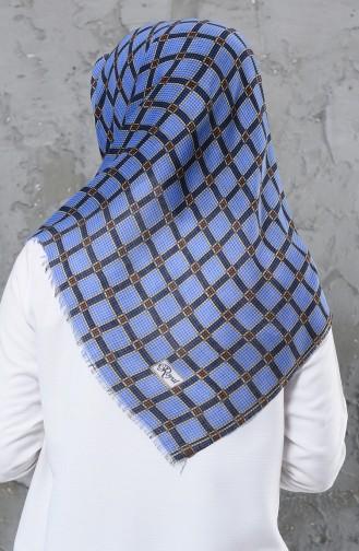 إيشارب قطن مُطبع بتصميم مُحاك بخيوط مزدوجة 901478-05 لون أزرق فاتح 901478-05