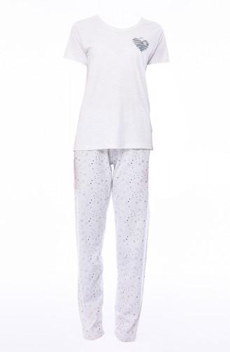 Kurzarm Pyjama-Set 812055-02 Weiss 812055-02