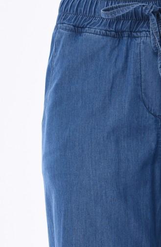 بنطال جينز بتفاصيل جيوب 8068-02 لون أزرق جينز 8068-02