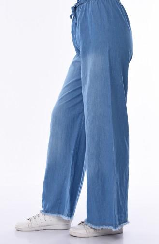 بنطال جينز قصة واسعة بتفاصيل من الشراشيب 1006-01 لون أزرق جينز 1006-01