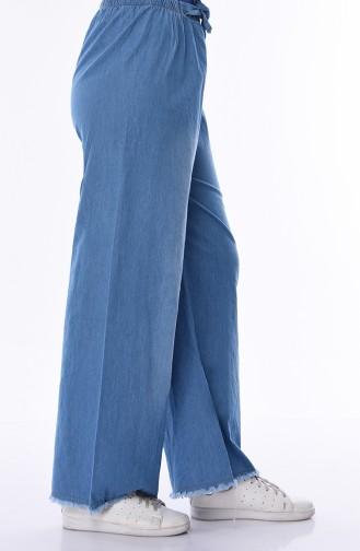 Püsküllü Bol Paça Kot Pantolon 1006-01 Kot Mavi
