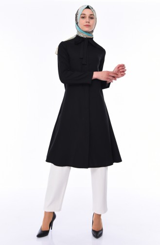 Tie Collar Long Tunic 2374-03 Black 2374-03