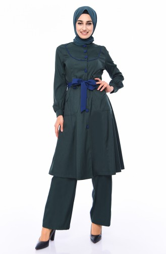 Belted Cape Pants Binary Suit 9035A-04 Emerald Green 9035A-04