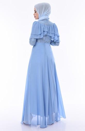 Sequined Evening Dress 12003-02 Blue 12003-02