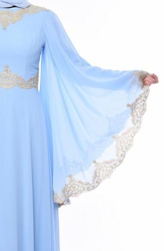 Dantel Detaylı Abiye Elbise 8224-03 Buz mavisi 8224-03