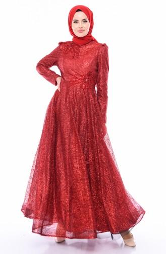 Simli Abiye Elbise 5105-04 Kırmızı 5105-04