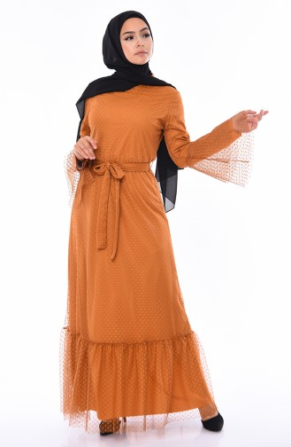 فستان تول بتصميم حزام للخصر 81710-02 لون اصفر داكن 81710-02