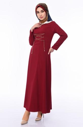 Claret Red Hijab Dress 1198-03