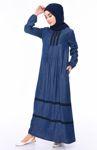 فستان جينز بتفاصيل من اللؤلؤ 9267-01 لون كحلي 9267-01