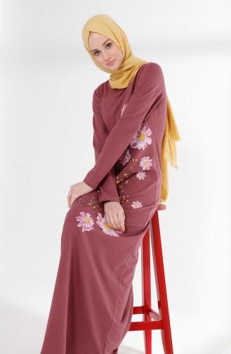 Flower Printed Two Yarn Dress 5008-04 dry rose 5008-04