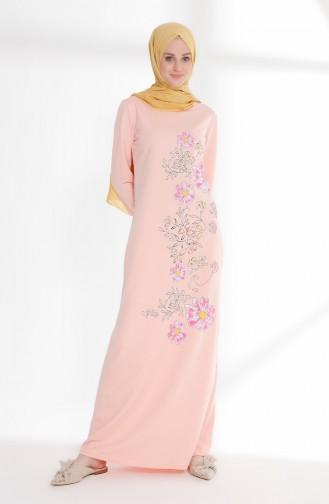 Çiçek Baskılı İki İplik Elbise 5041-07 Pudra