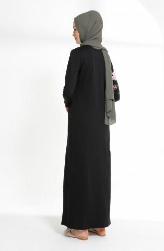 فستان محاك بخيطين بتصميم مطبع5021-01 لون اسود 5021-01