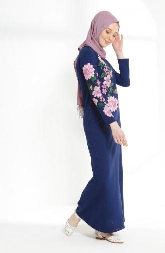 Baskılı İki İplik Elbise 5021-04 İndigo 5021-04