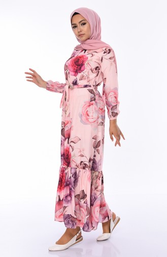 Flower Patterned Dress 5010-02 Powder 5010-02