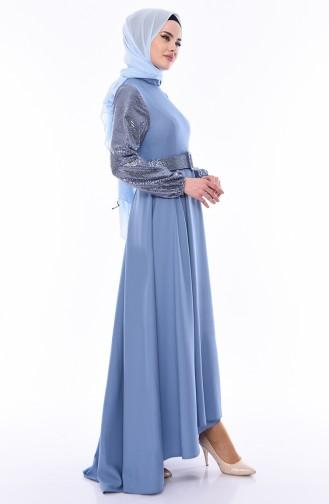 Payetli Kemerli Elbise 8002-02 Mavi 8002-02