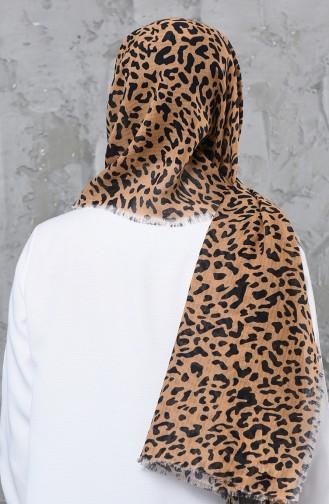 اكل شال قطن بتصميم مُطبع 001-419-02 لون مشمشي فاتح 001-419-02