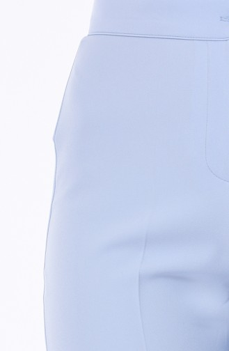 بنطال قصة مستقيمة بتصميم أزرار 1102-13 لون ازرق فاتح 1102-19