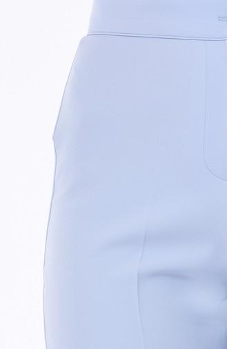 Düğmeli Düz Paça Pantolon 1102-19 Bebe Mavi