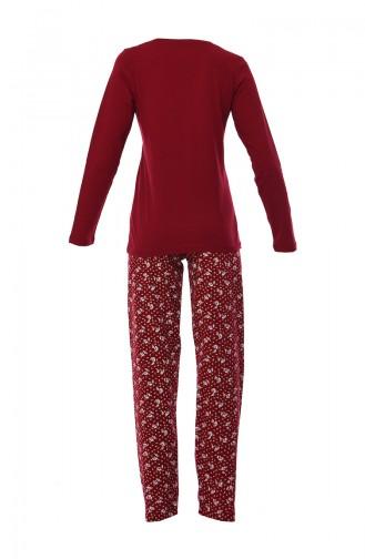 Bayan Uzun Kollu Pijama Takımı 803040-02 Bordo 803040-02