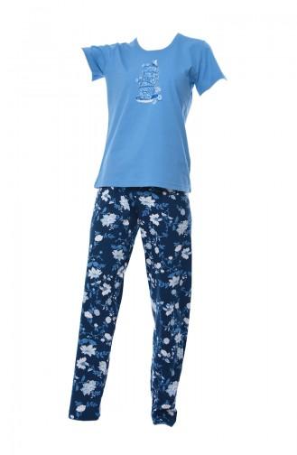 Bayan Kısa Kollu Pijama Takımı 810195-02 Mavi Petrol