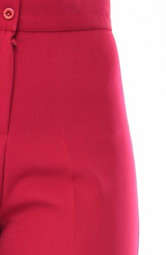 Düğmeli Düz Paça Pantolon 1102-18 Fuşya