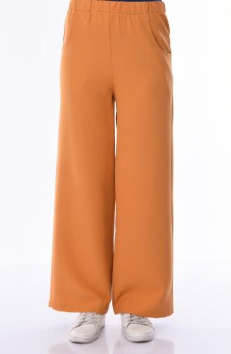 Cepli Düz Paça Pantolon 1013-06 Sarı