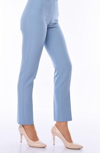 Side Zipper Lycra Trousers 9042-12 Baby Blue 9042-12