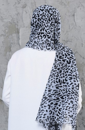 اكل شال قطن بتصميم مُطبع 001-419-09 لون رمادي فاتح 001-419-09