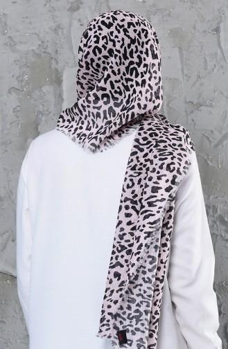اكل شال قطن بتصميم مُطبع 001-419-10 لون وردي 001-419-10