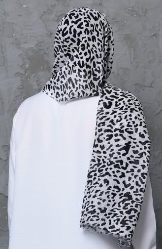 اكل شال قطن بتصميم مُطبع 001-419-25 لون كريمي و أسود 001-419-25