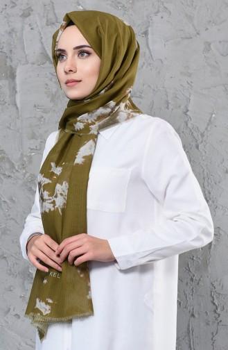 اكل شال قطن بتصميم مُطبع 001-422-27 لون أخضر كاكي 001-422-27