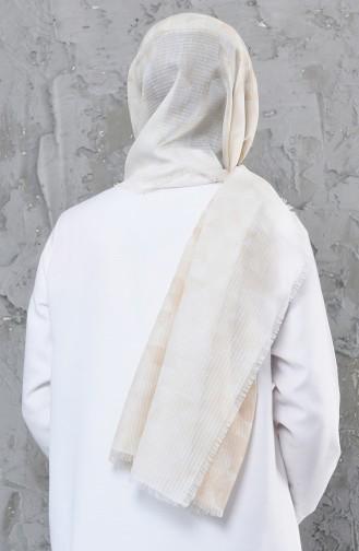 اكل شال قطن بتصميم مُطبع 001-425-11 لون مشمشي 001-425-11