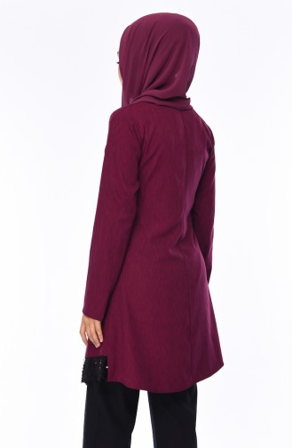Sequined Tunic Trousers Suit 4131-02 Plum 4131-02