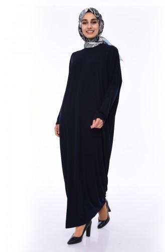 Dunkelblau Hijap Kleider 8813-06