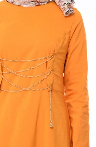 Eyelet Detail Dress  1198-05 Mustard 1198-05