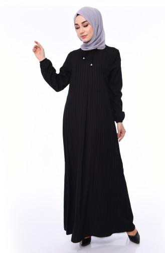Elastic Sleeve Viscose Dress 0552-03 Black 0552-03