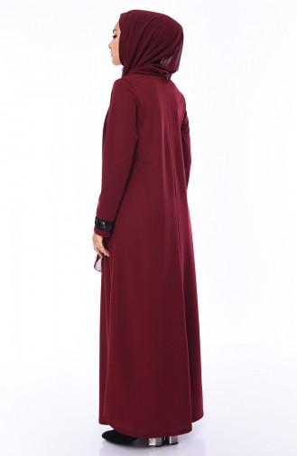 فستان بتفاصيل من الترتر اللامع 0287-04 لون خمري 0287-04