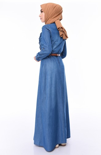 Pearl Belted Jeans Dress 5143-02 Blue Jeans 5143-02