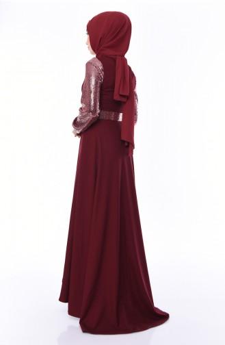 Payetli Kemerli Elbise 8002-04 Bordo 8002-04