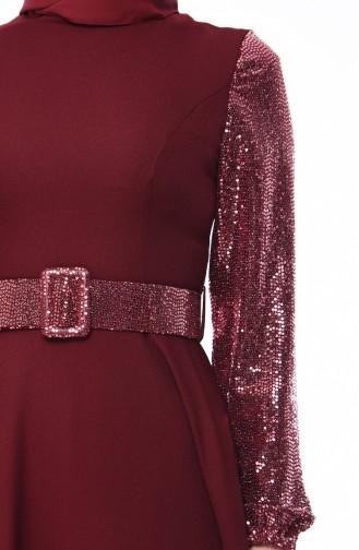 Sequined Belted Dress 8002-04 Bordeaux 8002-04