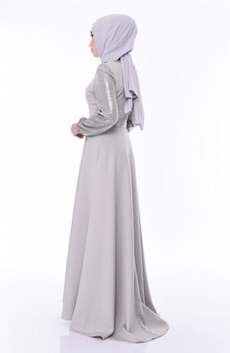 Payetli Kemerli Elbise 8002-05 Gri 8002-05