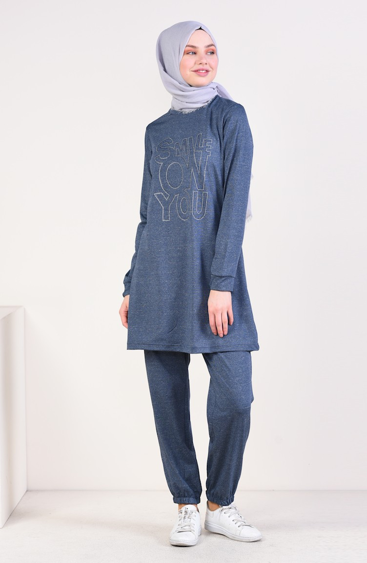 1a2925ddeb1c7 Printed Tracksuit 9063-04 Navy Blue 9063-04