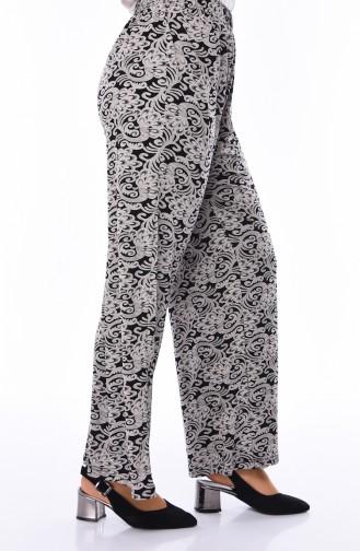 Büyük Beden Desenli Yazlık Pantolon 7884A-01 Gri Siyah
